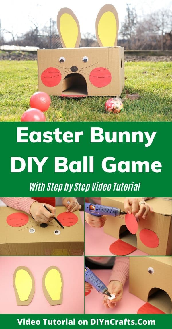 Easter bunny ball toss game collage