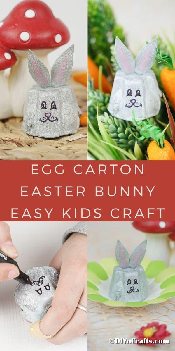 Egg carton Easter bunny collage