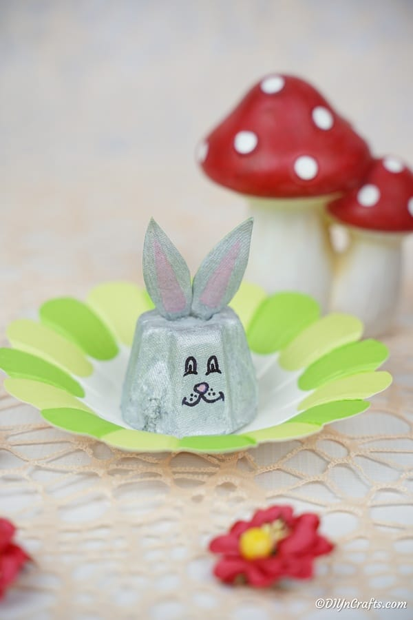 Egg carton bunny on green paper flower