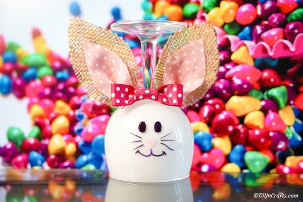 Adorable Wine Glass Bunny Decoration