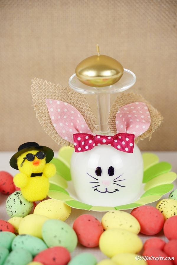 Wine glass bunny by easter decorations