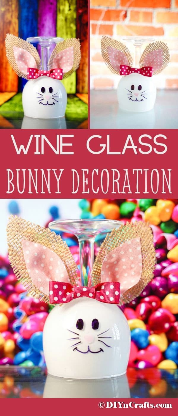 Wine glass bunny collage