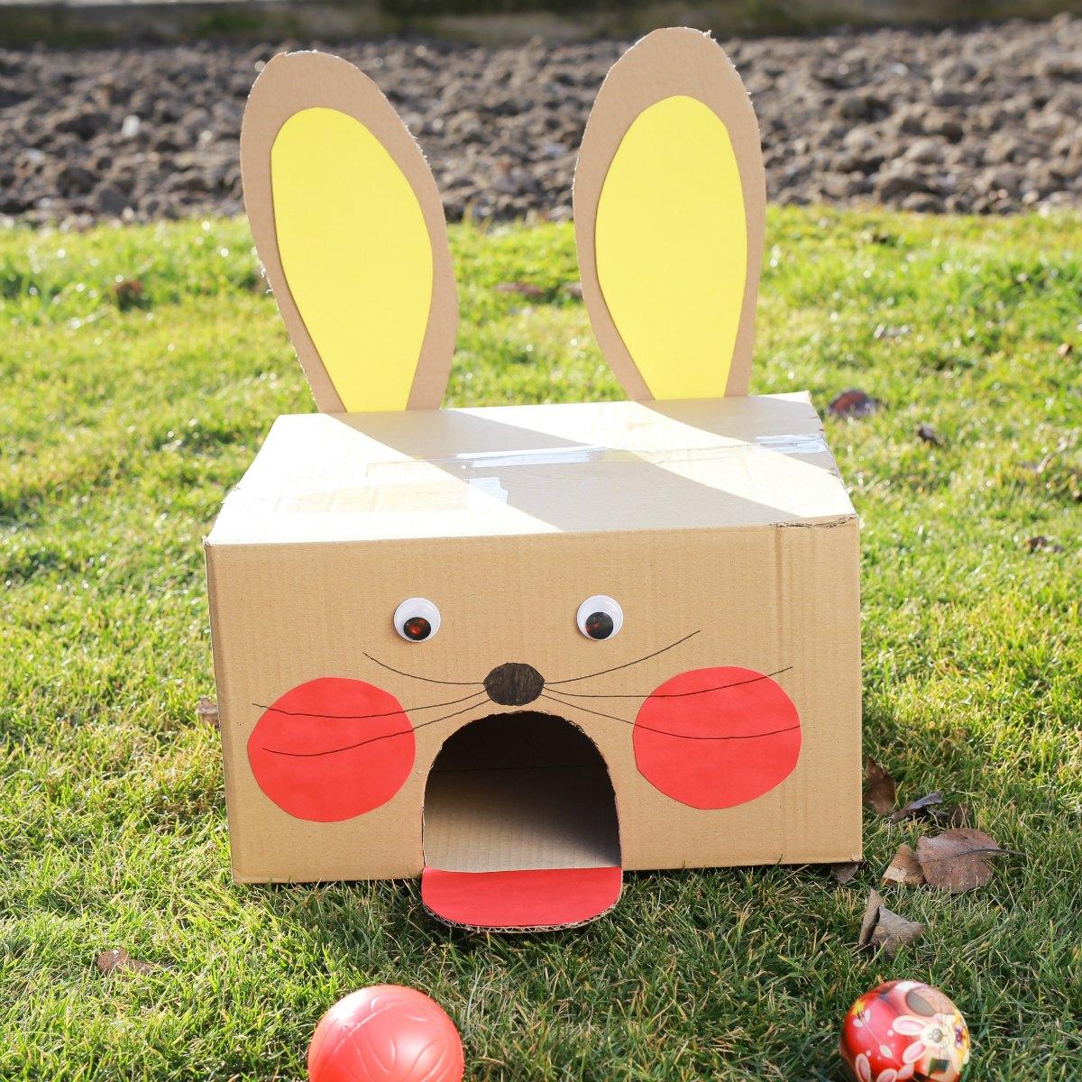 Fun Easter Bunny Cardboard Box Ball Game