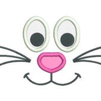 Easter Bunny Face Applique Embroidery Design