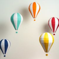 Pre-cut and Pre-scored Hot Air Balloon Kit - Low Poly