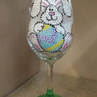 Hand painted Easter bunny Wine Glass
