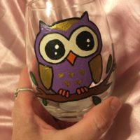 Purple & Gold Owl Wine glass