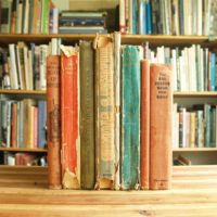 Collection of eight decorative vintage children's books for crafts, projects or decoration