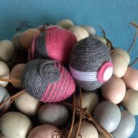 Pink and Grey Easter Eggs Wrapped with Yarn