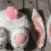 Bunny Butt & Ear Set White/Pink Rosette Fleece