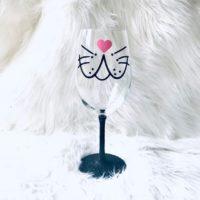Bunny Face Glitter Wine Glass Gift for Her