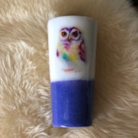 Watercolor owl glitter tumbler
