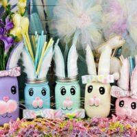 Easter Bunny Mason Jar Centerpieces
