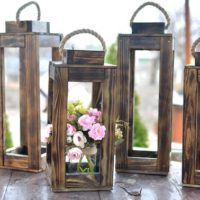 Large Farmhouse Wooden Lantern Rustic