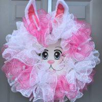 Easter Bunny Wreath, Rabbit Face, Bunny Ears Decor