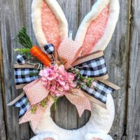 Easter Bunny Wreath, Pink Easter Wreath