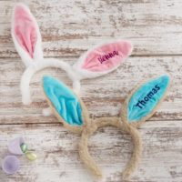 Embroidered Easter Bunny Ear Headband,