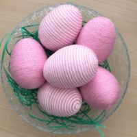 Pink and White Yarn Eggs