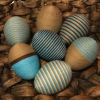 Decorative Yarn Easter Eggs in Teal or Brown