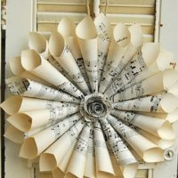 "16"" Sheet Music Wreath / Vintage Sheet Music / Paper Wreath / Musician Gift / Wedding Decor"