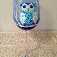 Winter Owl snow owl Hand painted wine glass