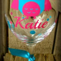 Personalized Wine Glass 20 ounce Owl Wine Glass Fully customizablefast Shipping