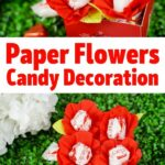 Paper flowers candy box decoration collage