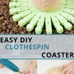 Clothespin coaster collage