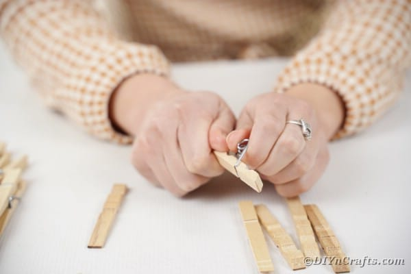 Taking apart clothespin