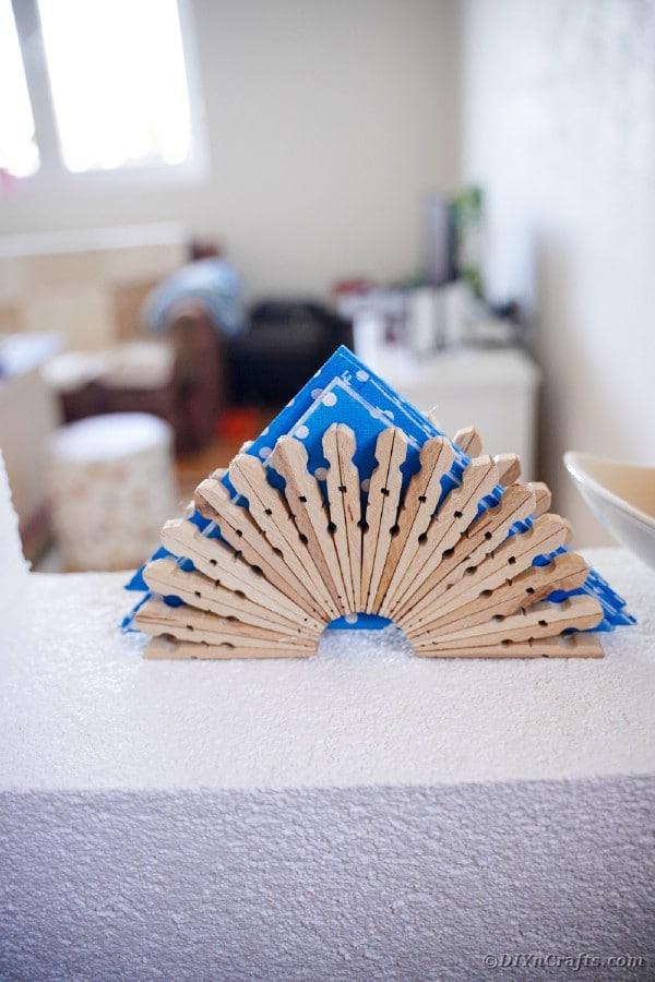 Blue polka dot napkin in napkin holder