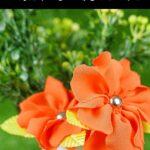 Orange fabric flower collage