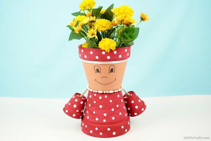 Polka Dot Upcycled Flower Pot Girl