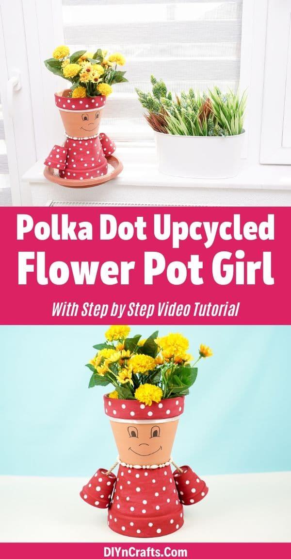 Flower pot girl collage