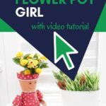 Flower pot girl on counter with yellow flowers