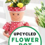Flower pot girl with yellow flowers in her head