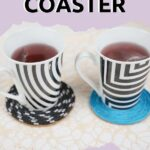 black and white and blue coasters made from rope on table