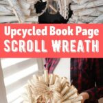 Book page paper scroll wreath collage