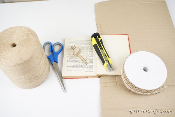 Supplies for old book page paper scroll wreath