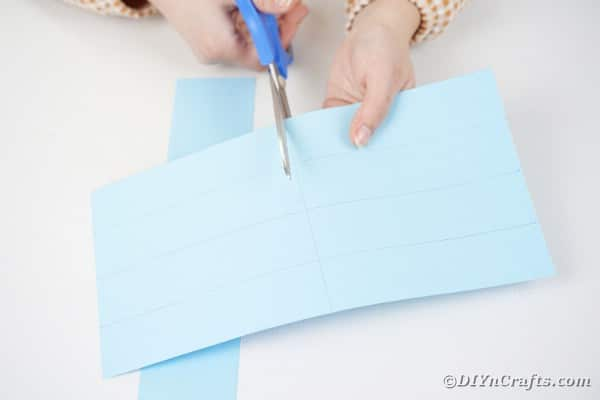 Cutting strips of paper