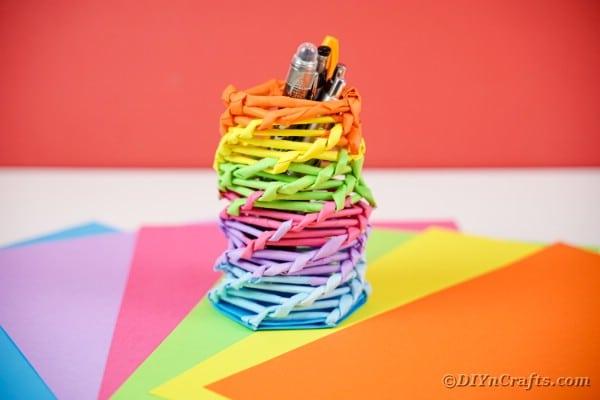 Rainbow organizer on rainbow paper