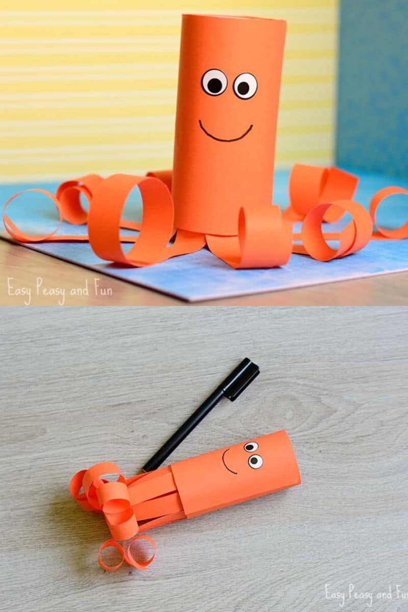 Paper roll octopus