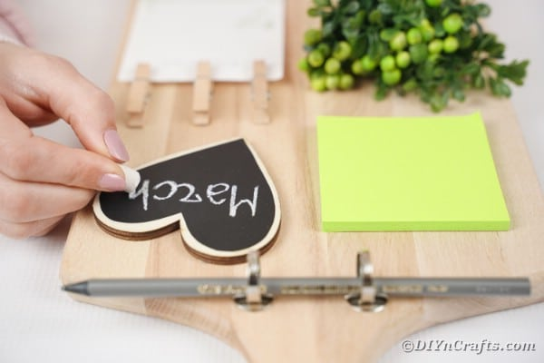 Adding pen to cutting board