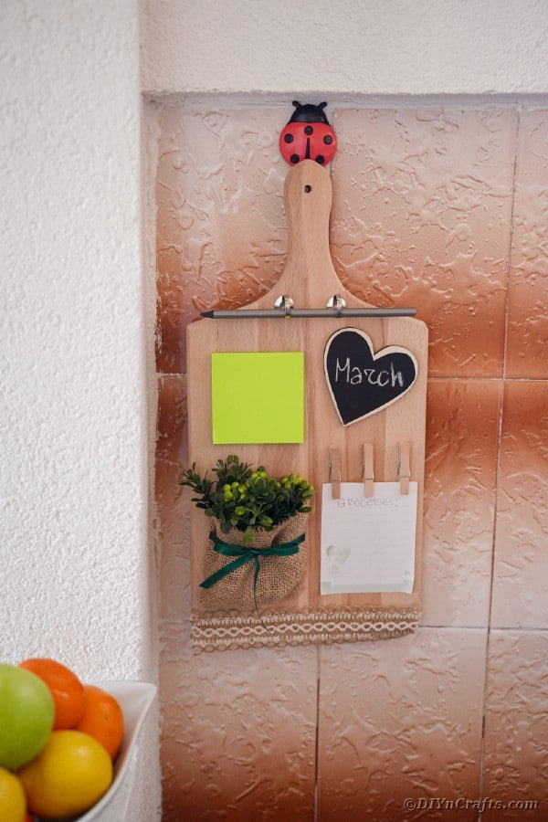 Cutting board hanging on copper backsplash