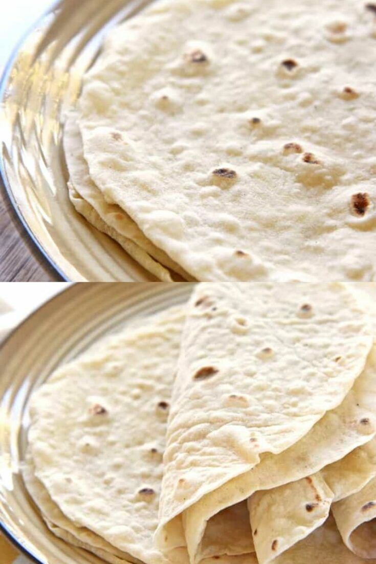 Flour tortillas on plate