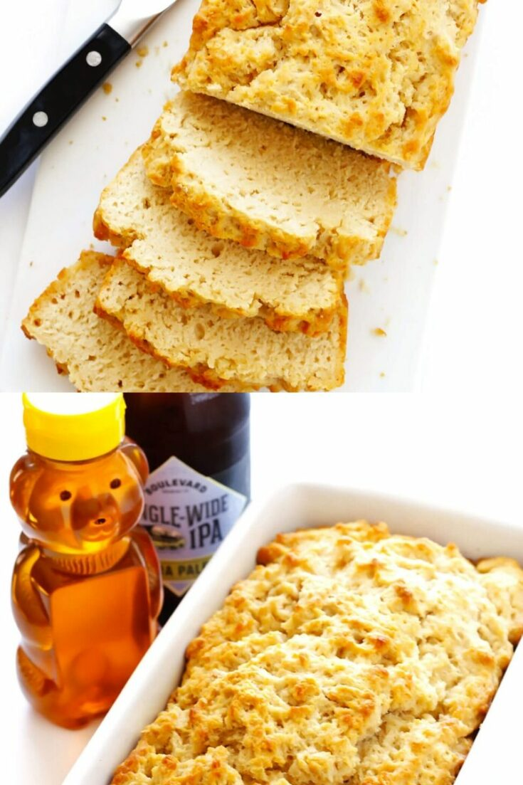 Beer bread in loaf pan