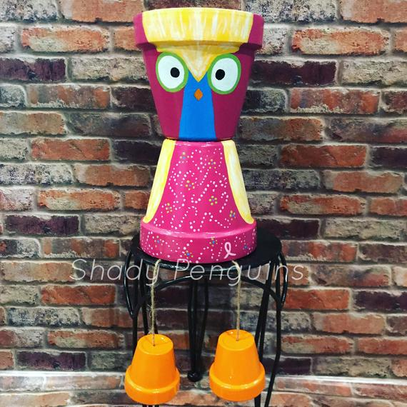 """12"""" Colorful Pink Owl Flower Pot People"""