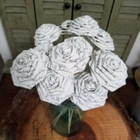 1 Dozen Harry Potter Book Page Flowers -12 Paper Roses