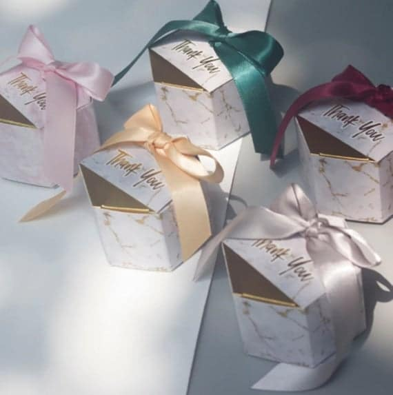 Marbling Hexagon Wedding Favor Box