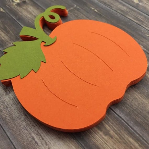 Fall Pumpkin Die Cut Embellishment