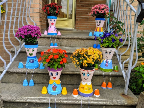 Colorful Flower Pot People